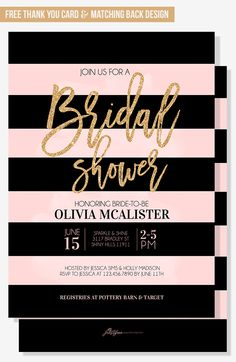 Modern bridal shower invitation for your trendy party theme. Blush pink and peach with gold glitter details. Black stripes, brush lettering and watercolor details makes a trendy spring or summer bridal shower invitation with timeless font choices.