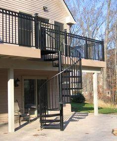Black Exterior Deck to Patio Spiral Staircase : #176