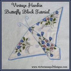 Hanky Quilt Block Patterns   Hankie Butterfly Block Quilt Pattern Tutorial from Victoriana Quilt ...