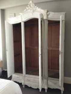 Antique shabby chic French Armoire with rococo decoration | eBay