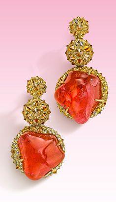 Nicholas Varney 2013 pink tourmaline earrings featuring cognac diamonds set in gold.