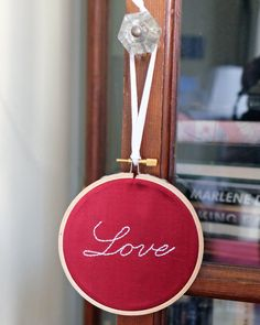Love hand-embroidered silk wall hanging / wall art
