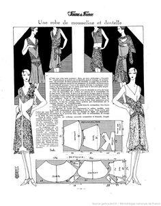 Robe en mousseline et dentelle (La Femme de France 30/12/1928)