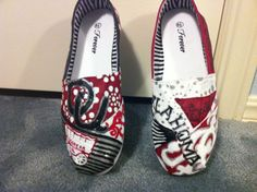 Oklahoma Sooners handpainted shoes by HeartNSoleDesigns on Etsy