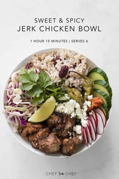 Our Jerk Chicken Buddha Bowl with Rice and Peas and Pineapple Coleslaw has the traditional comfort and flavour of the island with a fresh and vibrant twist. Spicy Recipes, Grilling Recipes, Real Food Recipes, Chicken Recipes, Dessert Recipes, Lunch Bowl Recipe, Jerk Chicken, Prepped Lunches, Chicken Meal Prep