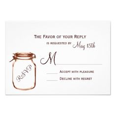 Mason Jar Country Rustic Wedding RSVP Cards