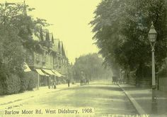 Typical of Edwardian-era English suburbia, Barlow Moor Road in West Didsbury, Manchester, UK, in 1908.