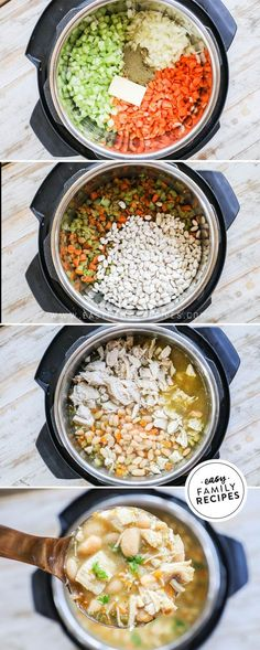 Family Approved! This Leftover Turkey Soup is LOADED with all the good stuff to warm your belly, and wanting more! It is one of the best Instant Pot soup recipes we have tried! Made with a savory combination of celery, carrots, onions, broth, and great northern beans this soup is hearty and wholesome! Leftover turkey makes it extra delicious and filling, not to mention super easy to make! This soup is a must try! Leftovers Recipes, Turkey Recipes, Chicken Recipes, Dinner Recipes, Easy Soup Recipes, Fast Recipes, Healthy Recipes, Snacks Recipes, Chili Recipes