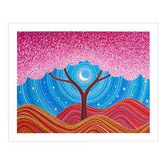 Moonlit Blossoms Art Postcard by Elspeth McLean by ElspethMcLean Dot Art Painting, Mandala Painting, Mandala Drawing, Stone Painting, Arte Sharpie, Elspeth Mclean, Inspiration Art, Mandala Dots, Aboriginal Art