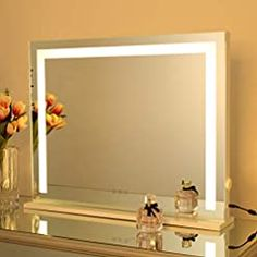 Makeup Vanity Mirror with Lights, Hollywood Lighted Mirror with Dimmable LED Bulb and 3 Color Modes, Dimmable Tabletop… Lighted Vanity Mirror, Wall Mirrors, Makeup Vanity Mirror With Lights, Hollywood Lights, Amazing Bathrooms, Light Colors, Tabletop, Bulb, Mom Gifts