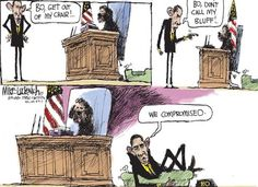 """Mark Twain once wrote, """"The dog is a gentleman; I hope to go to his heaven, not man's."""" Will voters take into account the way Mitt Romney treated his dog Seamus, and the way President Obama treats Bo? Dave Granlund and Mike Luckovich sink their canines in."""