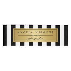 Elegant Black and White Stripes Gold Name Label Name Tag