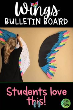 Wings Bulletin Board Create these awesome wings with a template! This makes a stunning bulletin board or classroom decor! Encourage students to spread their wings. You can customize it, using any colors you choose!<br> Bulletin Board Design, Summer Bulletin Boards, Teacher Bulletin Boards, Back To School Bulletin Boards, Preschool Bulletin Boards, Classroom Bulletin Boards, Preschool Classroom, March Bulletin Board Ideas, Kindness Bulletin Board