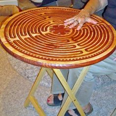 mandala labirynth coffee table with artistic metal base Labyrinth Maze, Labrynth, Spiritual Formation, Meditation Garden, Medicine Wheel, Diy Arts And Crafts, Sacred Geometry, Cool Designs, Mindfulness Therapy