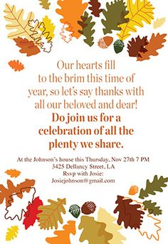 ThanksgivingPartyInvitationTemplates  Cards