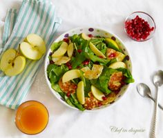 arugula apple salad with halloumi