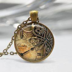 Antiqued Brass Clock Art Pendant Resin Pendant Picture Pendant Photo Pendant Resin Jewelry C204
