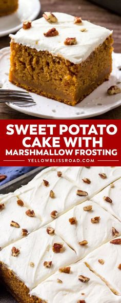 Southern Sweet Potato Cake with Marshmallow Frosting is the perfect cake for fall & Thanksgiving. It's moist, filled with warm spices, and topped with a sweet fluffy cloud of marshmallow buttercream! Southern Sweet Potato Cake Recipe, Sweet Potato Pound Cake, Sweet Potato Dessert, Sweet Potato Pecan, Potato Cakes, Sweet Potato Recipes, Potato Food, Thanksgiving Desserts, Fall Desserts