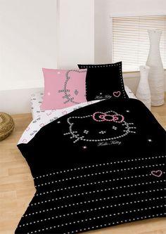 Parure Housse de Couette Hello Kitty Diamonds 240 x 220 cm  2 Taies d ...