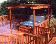 Hot Spring Deck Design - traditional - patio - san diego - by Hot Spring Spas Hot Tub Pergola, Hot Tub Deck, Hot Tub Backyard, Deck With Pergola, Pergola Plans, Diy Pergola, Pergola Kits, Pergola Ideas, Porch Ideas