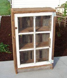 Old window pane idea. Cabinet - Old window pane idea… Cabinet - Old Window Projects, Barn Wood Projects, Furniture Projects, Diy Furniture, Old Window Ideas, Furniture Vintage, Furniture Design, Old Window Panes, Window Frames