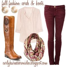 A fashion look from October 2011 featuring striped shirt, red jeans and riding boots. Browse and shop related looks.