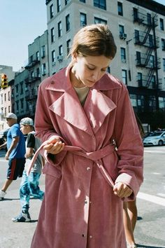 Pink suede trenchcoat by J.W. Anderson.