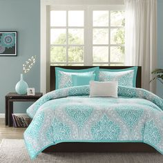 BEAUTIFUL MODERN CHIC BLUE AQUA TEAL GREY TROPICAL BEACH COMFORTER SET & PILLOWS in Home & Garden, Bedding, Comforters & Sets | eBay
