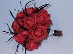 Romantic Bridal Bouquet with Red Real by ShayesBridalBoutique, $140.00