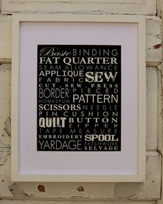 Isn't this the best?  I so want this print for my sewing room, with a aqua mat maybe or a aqua frame?