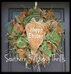 Easter Deco Mesh Carrot Wreath available at SouthernThrills on Etsy $70