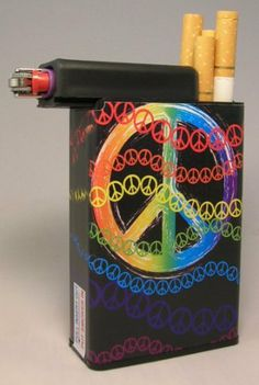 Cigarette Case Peace Sign Colors with Built on Lighter Holder by Cigarette CAse Peace. Save 34 Off!. $5.95. Holds hard and soft packs along with 100's. Keeps your cigarettes fresh longer inside and outside the home and no more lost lighters! Smokers love it and perfect for roll your own. Built on lighter compartment which a smoker can slide over to retrieve a cigarette then slide back and light the cigarette without removing the lighter. Holds mini Bic lighters. The removable belt ...