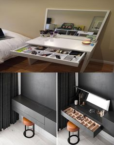 Diy Makeup Vanity, Dressing Table Mirror, Sideboard, Desk, Bedroom, Furniture, Home Decor, Dresser Mirror, Desktop
