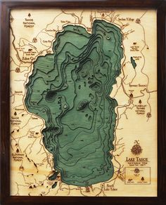 "a bathymetric chart (the underwater equivalent of a topographic map) of Lake Tahoe. Laser cut out of wood  16"" x 20"" Lake Tahoe nautical chart art. Designed by Below The Boat"