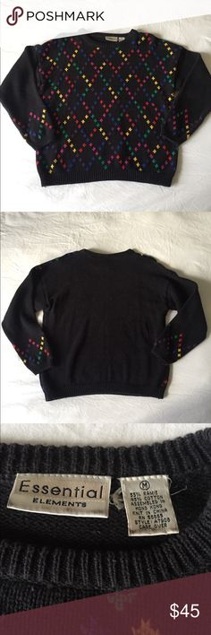 """Vintage Sweater with Knitted Rainbow Diamonds Vintage Sweater with Knitted Rainbow Diamonds, Size Medium, 55% Ramie, 45% Cotton, Brand: Essential Elements, Slightly Faded Black, Otherwise Very Good Condition, Bust 40"""" Length 23"""" Vintage Tops"""