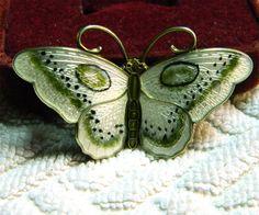JEJ Hroar Prydz Norway Sterling Butterfly - 2 in - Sterling and Enamel - Green White Black. $149.99, via Etsy.