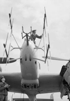 Bf 110G nightfighter with FuG 220 (small) and SN2 (large) radar antennas.
