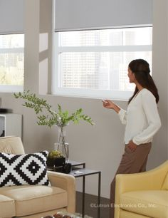 Motorized shades make controlling large windows a breeze. www.lutron.com/shades