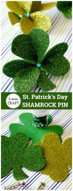 Patrick's Day Shamrock Pin made from Dollar Tree foam shamrocks, bar pin, and gems. Easy craft patricks day party ideas for seniors St. March Crafts, Spring Crafts, Holiday Crafts, Spring Projects, Holiday Ideas, Art Projects, St. Patrick's Day Diy, Saint Patrick, St Paddys Day