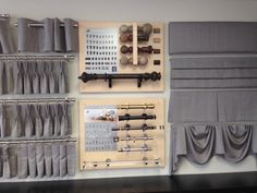 From our new location at 1200 Speers Road - Design Centre display of Heading Styles & Joanne Drapery Hardware.