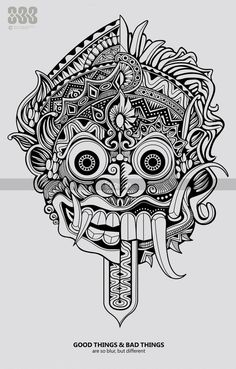 barong mask drawing - Buscar con Google