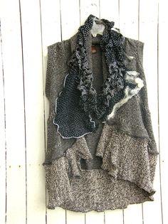 Reconstructed Sweater Vest Nuno Felt. $98.00, via Etsy.