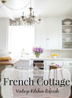 Sharing our French cottage kitchen and the new refreshed look it has~ marble counters, a fluted farmhouse sink and much more. bHome.us #bHome
