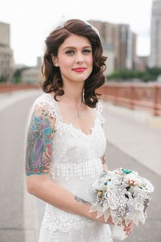 A little bit of vintage glamour is good (one side pinned back) Wedding Hairstyles Half Up Half Down, Wedding Hair Down, Medium Wedding Hair, Bridal Hair Half Up Medium, Medium Length Bridal Hair, Hair Medium, 1920s Wedding Hair, Bridesmaid Hair Half Up Medium, Bridal Hair Down