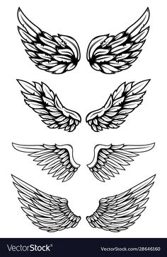 Set wings in tattoo style isolated on white Vector Image , Wing Neck Tattoo, Wing Tattoos On Back, Neck Tattoo For Guys, Small Neck Tattoos, Eagle Wing Tattoos, Tribal Tattoos, Body Art Tattoos, Celtic Tattoos, Tattoo Outline Drawing