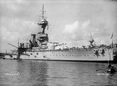 BRITISH BATTLESHIPS FIRST WORLD WAR (FL 334) HMS AJAX at anchor in Grand Harbour, Valletta, Malta, 1921.