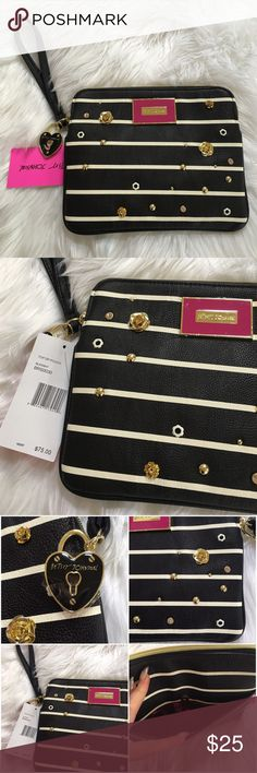 """Betsey Johnson In Bloom zip bag pouch wallet black Betsey Johnson zipper wristlet bag top zip pouch wallet ✨ black and white stripe ✨ in bloom gold roses heart locket ✨ has space for at least six credit cards zippered pocket inside two compartments and an outside pocket ✨ brand new msrp $75 ✨ 9""""l x 7.5""""h x 2""""d ✨ gorgeous gift ! Betsey Johnson Bags Clutches & Wristlets"""