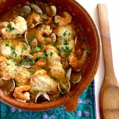 Monkfish cooked in cazuela with shrimp and clams.