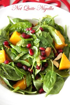 Recipe: Antioxidant Salad Pomegranate, Baby Spinach, Mango and Almond salad @ Not Quite Nigella