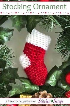 Brighten up your holidays with this cute little stocking ornament! You can use any size yarn you like, so it's a great scrapbuster too. See the full pattern on Crochet Ornament Patterns, Crochet Christmas Stocking Pattern, Crochet Stocking, Crochet Christmas Ornaments, Holiday Crochet, Christmas Knitting, Crochet Gifts, Christmas Stockings, Stocking Ornaments
